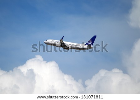 LOS ANGELES, CALIFORNIA, USA - MARCH 8, 2013 - Copa Airlines Boeing 737-8V3 takes off from Los Angeles Airport on  March 8, 2013. The plane seats 126 passengers with a range of 10,200 km