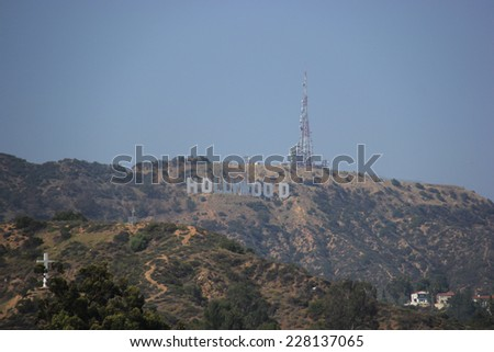 Los Angeles, California, USA - May 19, 2014: The Hollywood Sign, viewed from Hollywood Boulevard, is a landmark located on Mount Lee in the Hollywood Hills in Los Angeles, California  - stock photo