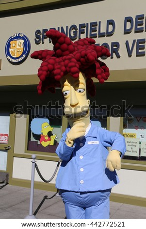 Los Angeles, California, USA - November 22, 2015: Sideshow Bob, a character in the animated television series The Simpsons, is greeting tourists at Universal Studios Hollywood.
