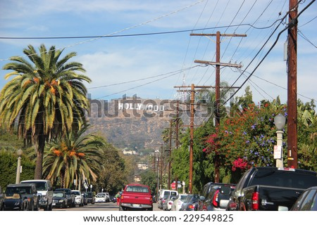 Los Angeles, California, USA - November 10, 2014: The Hollywood Sign is a landmark located on Mount Lee in the Hollywood Hills area of the Santa Monica Mountains in Los Angeles, California. - stock photo