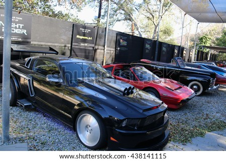 Los Angeles, California, USA - November 22, 2015: Universal Picture cars from many famous movies are displayed along Greens Road during Studio Tour at Universal Studios Hollywood. - stock photo
