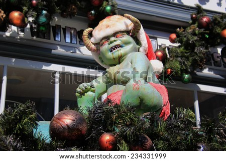 Los Angeles, California, USA - October 10, 2014: Decoration for Halloween and Christmas Celebration at Universal Studios Hollywood - stock photo