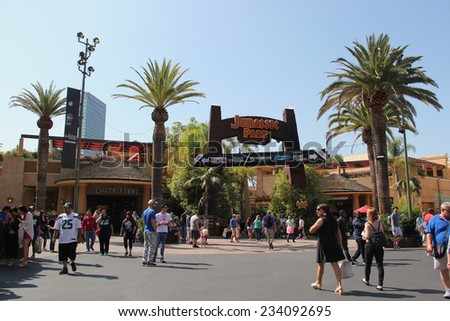 Los Angeles, California, USA - October 10, 2014: Scenery of Jurassic Park The Ride at the lower lot of Universal Studios Hollywood. - stock photo