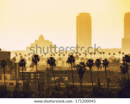Los Angeles, California. View over Beverly Hills and Century City.  - stock photo