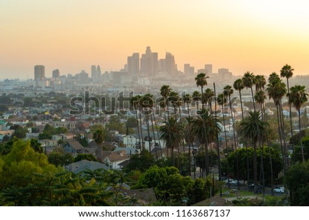 LOS ANGELES - CIRCA AUGUST 2018: Downtown skyline buildings evening
