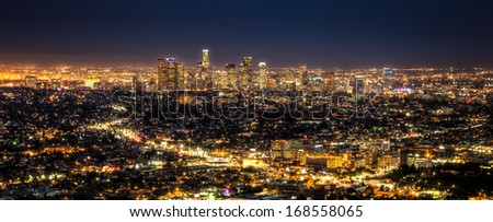 Los Angeles City at Night - stock photo