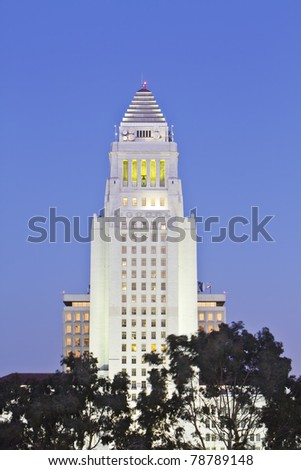 Los Angeles City Hall  at dusk. - stock photo