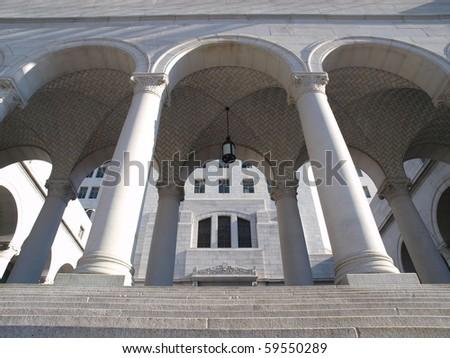 Los Angeles City Hall's historic Spring Street steps. - stock photo