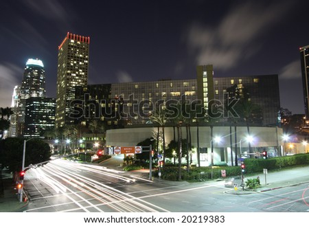 Los Angeles City Intersection at Night - stock photo