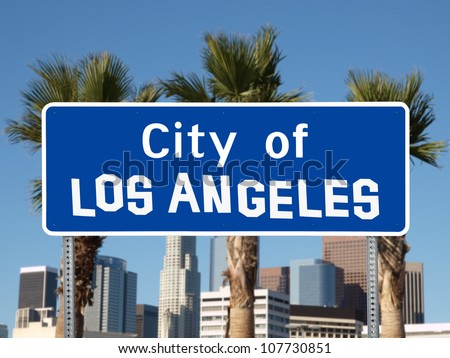 Los Angeles city limit sign with hand made font. - stock photo