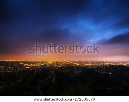 Los Angeles city panorama at night - stock photo