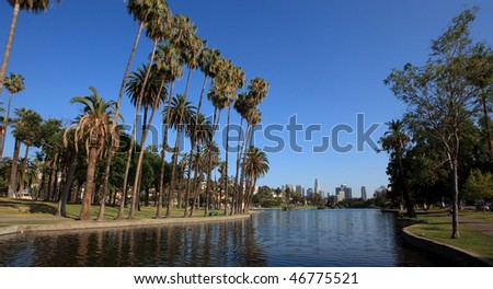 Los Angeles city- park and skyline - stock photo
