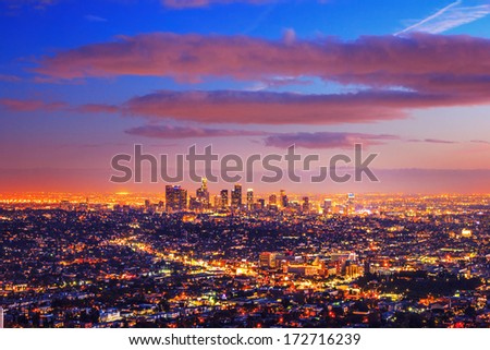 Los Angeles city skyline at dusk after sunset. - stock photo
