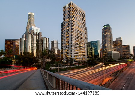 Los angeles city speed sunset - stock photo