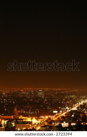Los Angeles city street with two thirds of image useful for copy space - stock photo