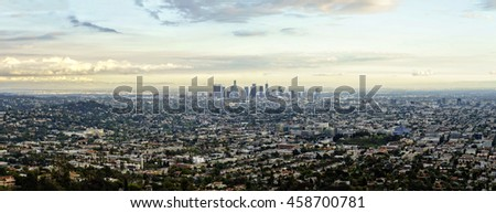 Los angeles city view from Griffith Observatory hill at sunset time