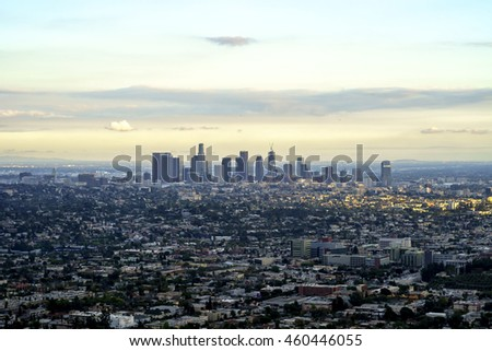 Los Angeles city view from the hill
