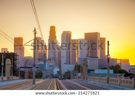 Los Angeles cityscape at the sunrise - stock photo