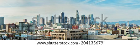 Los Angeles cityscape panorama on a sunny day - stock photo
