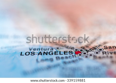 Los Angeles close up on map, shallow depth of field. - stock photo
