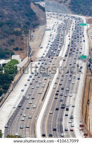 los angeles congested highway aerial view