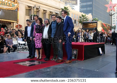 LOS ANGELES - DEC 8: A Serkis, Richard Armitage, Evangeline Lilly, Peter Jackson, Orlando Bloom, E Wood, Lee Pace at the Peter Jackson WOF at the Dolby Theater on December 8, 2014 in Los Angeles, CA - stock photo