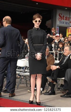 LOS ANGELES - DEC 13:  Anne Hathaway at the Hollywood Walk of Fame ceremony for Hugh Jackman on December 13, 2012 in Los Angeles, CA - stock photo