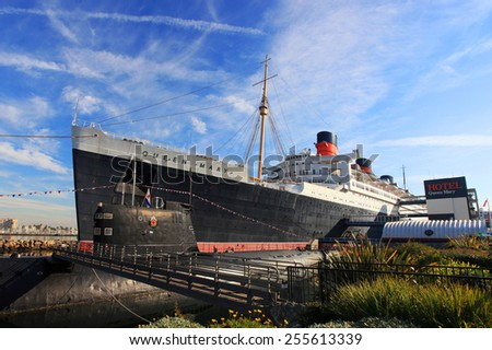 LOS ANGELES - DEC 21: Antique Cruise ship Queen Mary and Russian Scorpion homeported on December 21st, 2008 in Long Beach, Los Angeles, California, USA. - stock photo