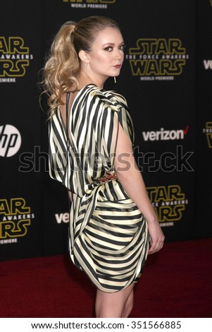 LOS ANGELES - DEC 14:  Billie Lourd at the Star Wars: The Force Awakens World Premiere at the Hollywood & Highland on December 14, 2015 in Los Angeles, CA - stock photo