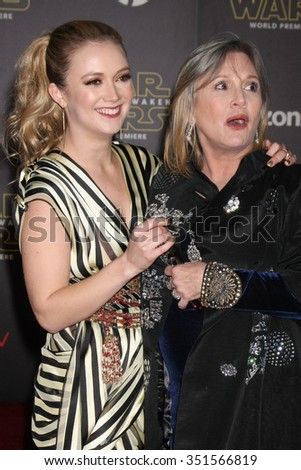 LOS ANGELES - DEC 14:  Billie Lourd, Carrie Fisher at the Star Wars: The Force Awakens World Premiere at the Hollywood & Highland on December 14, 2015 in Los Angeles, CA - stock photo