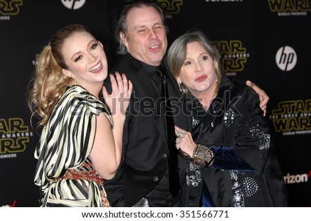 LOS ANGELES - DEC 14:  Billie Lourd, Todd Fisher, Carrie Fisher at the Star Wars: The Force Awakens World Premiere at the Hollywood & Highland on December 14, 2015 in Los Angeles, CA - stock photo