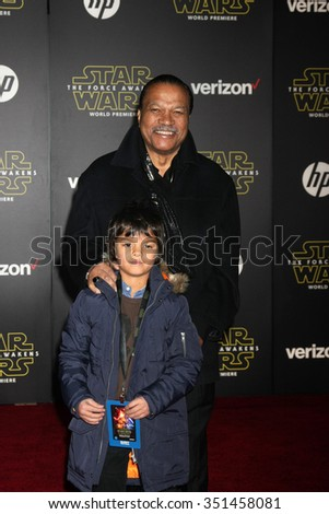 LOS ANGELES - DEC 14:  Billy Dee Williams at the Star Wars: The Force Awakens World Premiere at the Hollywood & Highland on December 14, 2015 in Los Angeles, CA - stock photo