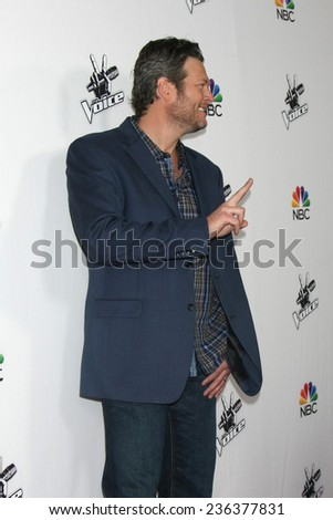 """LOS ANGELES - DEC 8:  Blake Shelton at the NBC's """"The Voice"""" Season 7 Red Carpet Event at the HYDE Sunset: Kitchen + Cocktails on December 8, 2014 in West Hollywood, CA - stock photo"""