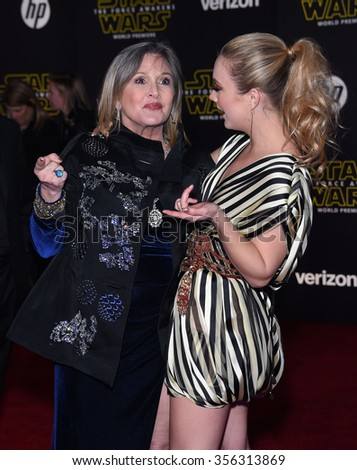 "LOS ANGELES - DEC 14:  Carrie Fisher & Billie Lourd arrives to the ""Star Wars: The Force Awakens"" World Premiere  on December 14, 2015 in Hollywood, CA.                 - stock photo"