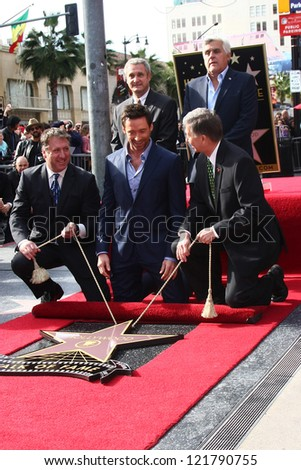LOS ANGELES - DEC 13:  Chamber officials, Jay Leno, Hugh Jackman, Leron Gubler at the Hollywood Walk of Fame ceremony for Hugh Jackman at Hollywood Boulevard on December 13, 2012 in Los Angeles, CA - stock photo