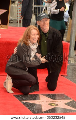 LOS ANGELES - DEC 10:  Cheryl Howard, Ron Howard at the Ron Howard Star on the Hollywood Walk of Fame at the Hollywood Blvd on December 10, 2015 in Los Angeles, CA - stock photo