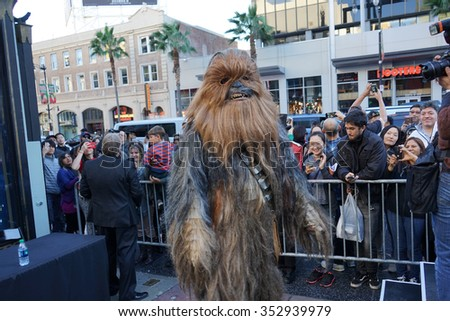 LOS ANGELES - DEC 17:  Chewbacca at the Australian Star Wars fans get married in a Star Wars-themed wedding at the TCL Chinese Theater on December 17, 2015 in Los Angeles, CA - stock photo