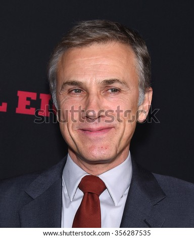 "LOS ANGELES - DEC 07:  Christoph Waltz arrives to the ""The Hateful Eight"" Los Angeles Premiere  on December 07, 2015 in Hollywood, CA.                 - stock photo"
