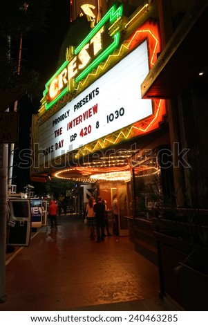 LOS ANGELES - DEC 25: Controversial movie 'The Interview' opens at the Crest Theater on December 25, 2014 in Westwood, Los Angeles, California - stock photo