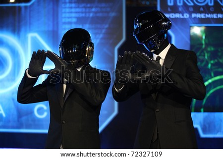 LOS ANGELES - DEC 11:  Daft Punk arrives to the 'Tron: Legacy' World Premiere  on December 11, 2010 in Hollywood, CA - stock photo
