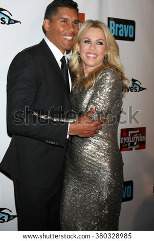LOS ANGELES - DEC 3:  Donnie Edwards, Kathryn Edwards at The Real Housewives of Beverly Hills Premiere Red Carpet 2015 at the W Hotel Hollywood on December 3, 2015 in Los Angeles, CA - stock photo