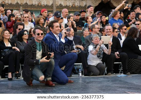 LOS ANGELES - DEC 8:  Elijah Wood, Lee Pace at the Peter Jackson Hollywood Walk of Fame Ceremony at the Dolby Theater on December 8, 2014 in Los Angeles, CA - stock photo