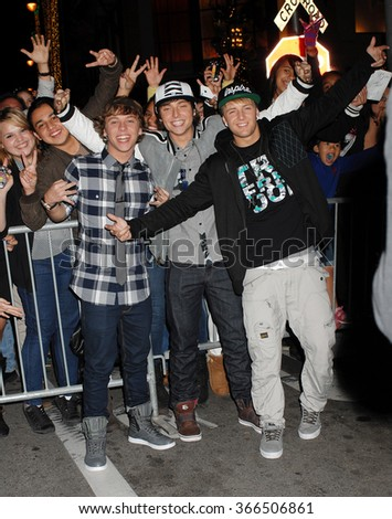 LOS ANGELES - DEC 6 - Emblem3 arrives at the X Factor Viewing Party  on December 6, 2012 in Los Angeles, CA              - stock photo