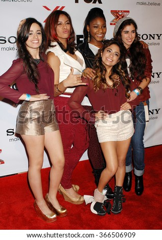 LOS ANGELES - DEC 6 - Fifth Harmony arrives at the X Factor Viewing Party  on December 6, 2012 in Los Angeles, CA              - stock photo