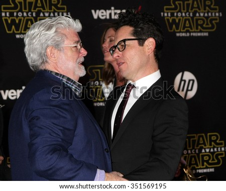 LOS ANGELES - DEC 14:  George Lucas, JJ Abrams at the Star Wars: The Force Awakens World Premiere at the Hollywood & Highland on December 14, 2015 in Los Angeles, CA - stock photo