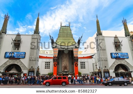 LOS ANGELES - DEC 29: Grauman's Chinese Theater on December 29, 2009 located on Hollywood Boulevard in Hollywood, California. Hand prints of celebrities are ensconced in front of the building. - stock photo