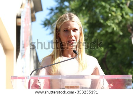 LOS ANGELES - DEC 8:  Gwyneth Paltrow at the Rob Lowe Star on the Hollywood Walk of Fame at the Hollywood Blvd on December 8, 2015 in Los Angeles, CA - stock photo