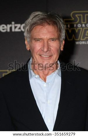 LOS ANGELES - DEC 14:  Harrison Ford at the Star Wars: The Force Awakens World Premiere at the Hollywood & Highland on December 14, 2015 in Los Angeles, CA - stock photo
