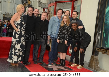 LOS ANGELES - DEC 21:  Hateful Eight Cast at the Quentin Tarantino Hollywood Walk of Fame Star Ceremony at the Hollywood Blvd on December 21, 2015 in Los Angeles, CA - stock photo
