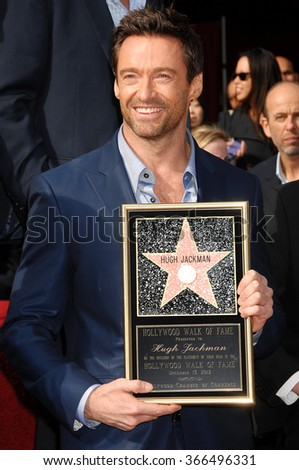 LOS ANGELES - DEC 13 - Hugh Jackman  arrives at the Hugh Jackman Star On The Hollywood Walk Of Fame Ceremony on December 13, 2012 in Los Angeles, CA              - stock photo